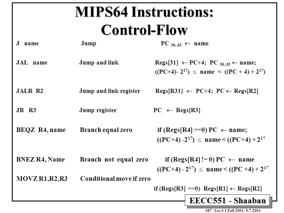 MIPS64 Instructions: Control-Flow