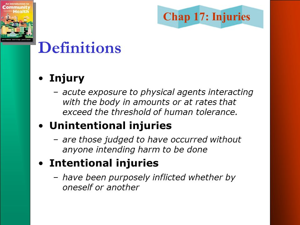 Definitions Injury Unintentional injuries Intentional injuries