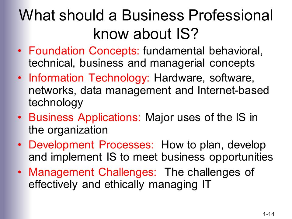 What should a Business Professional know about IS