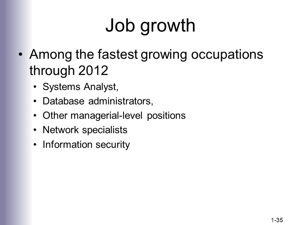 Job growth Among the fastest growing occupations through 2012