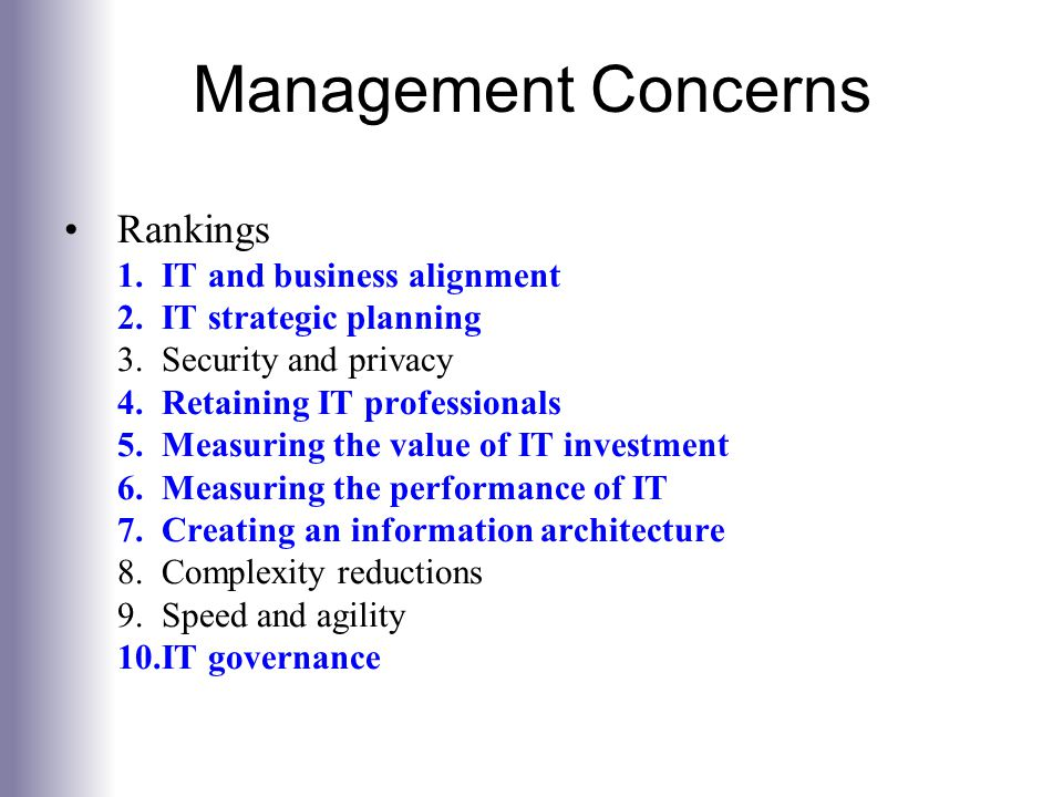 Management Concerns Rankings IT and business alignment