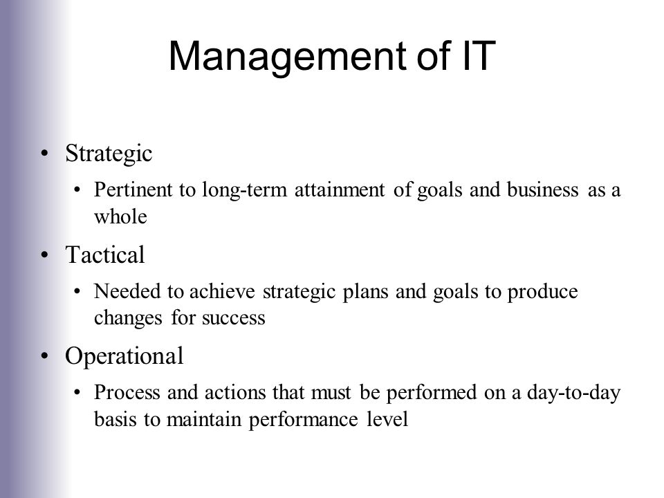 Management of IT Strategic Tactical Operational