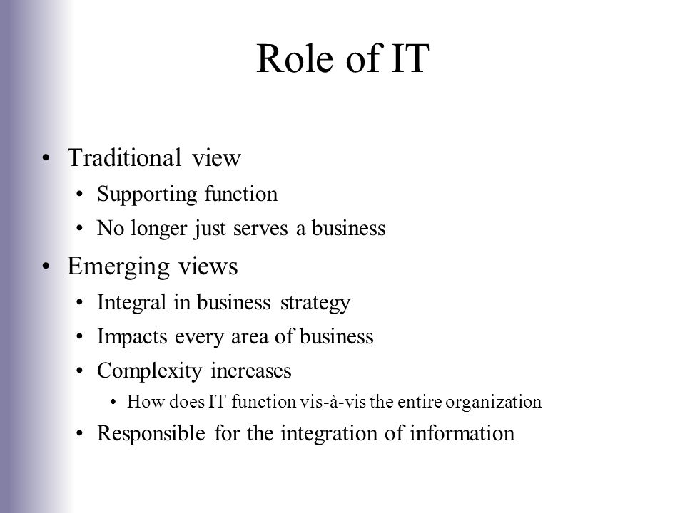 Role of IT Traditional view Emerging views Supporting function