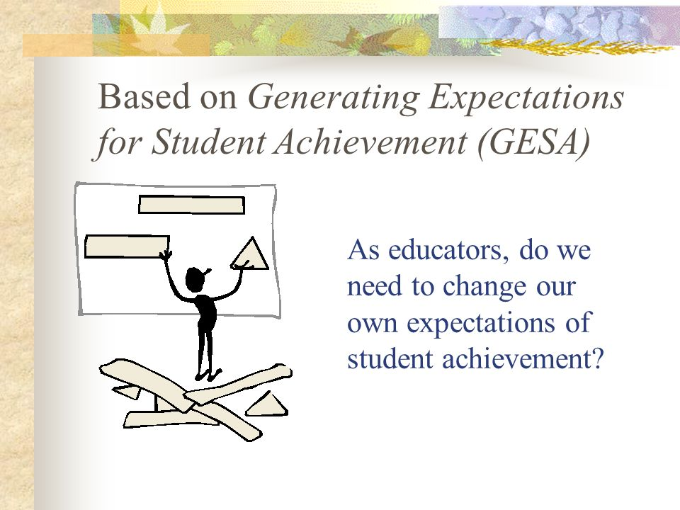 Based on Generating Expectations for Student Achievement (GESA)