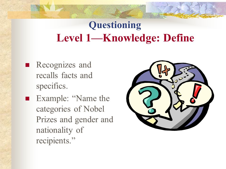 Questioning Level 1—Knowledge: Define