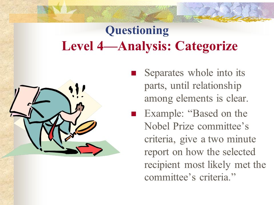 Questioning Level 4—Analysis: Categorize