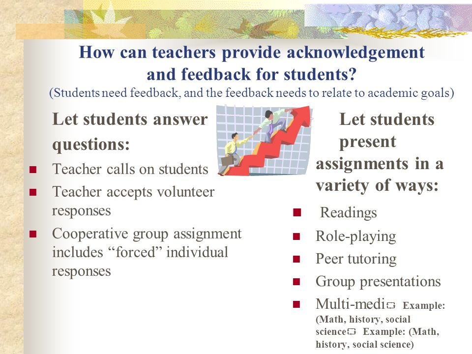 Let students answer questions: