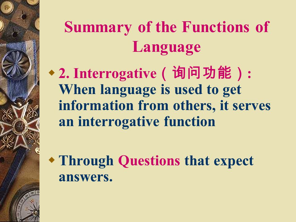 Summary of the Functions of Language