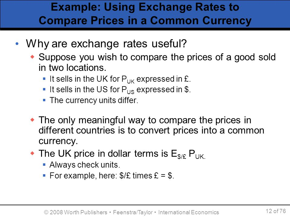 Example Using Exchange Rates To Compare Prices In A Common Currency
