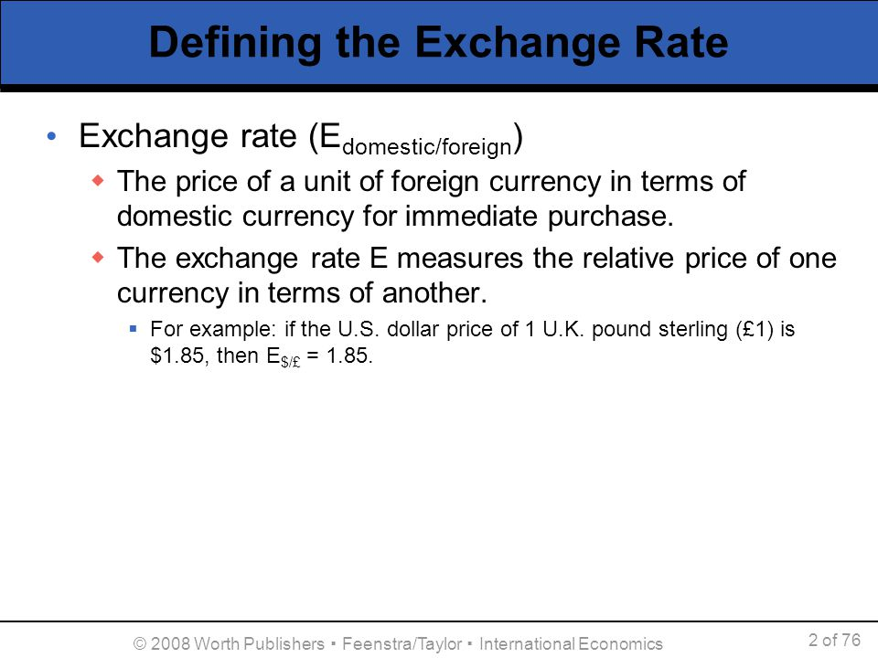 Defining The Exchange Rate