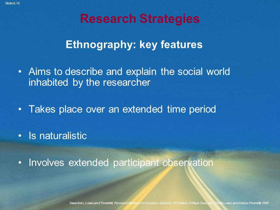 Ethnography: key features
