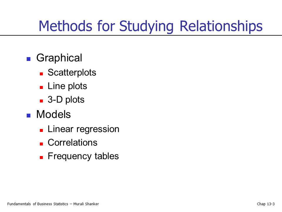 Methods for Studying Relationships