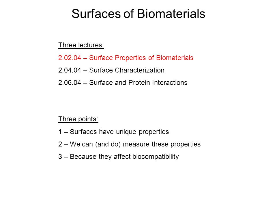 Surfaces Of Biomaterials Ppt Video Online Download