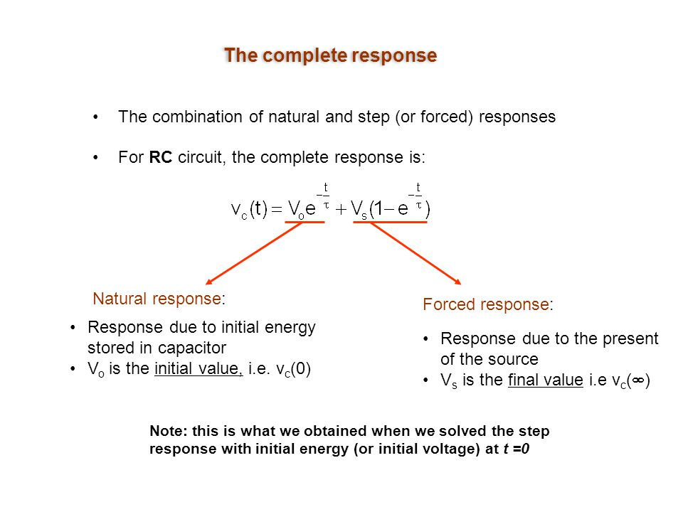 The complete response The combination of natural and step (or forced) responses. For RC circuit, the complete response is: