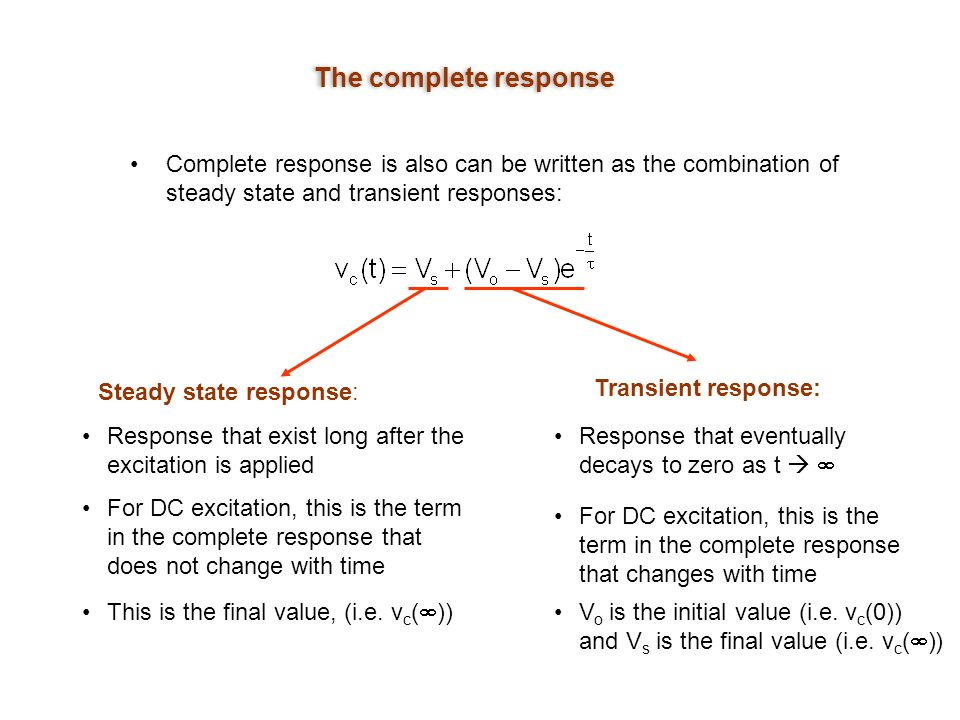 The complete response Complete response is also can be written as the combination of steady state and transient responses: