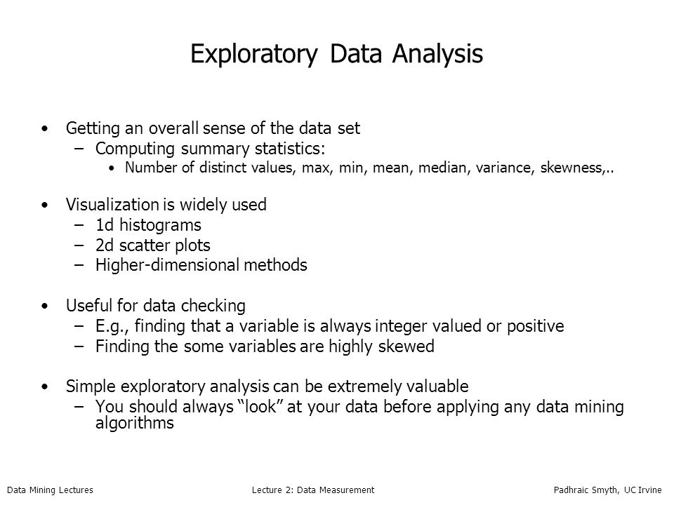 ICS 278: Data Mining Lecture 2: Measurement and Data - ppt