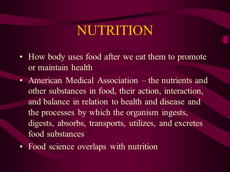 DEFINITION FOOD SCIENCE AND NUTRITION WEIGHTS AND