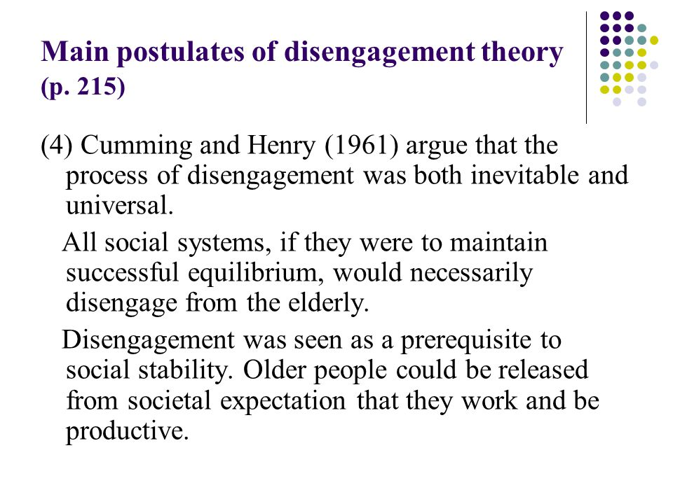 social disengagement theory of aging