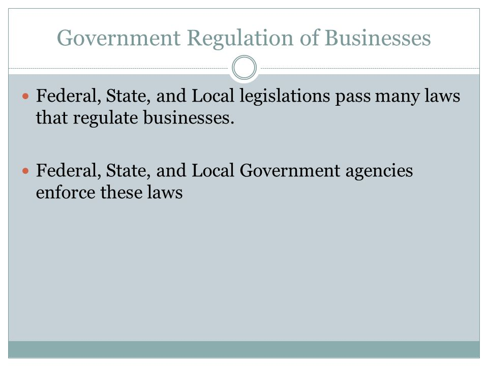 government regulation of businesses