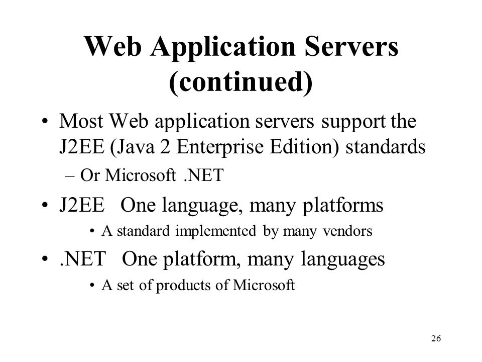Web Application Servers (continued)