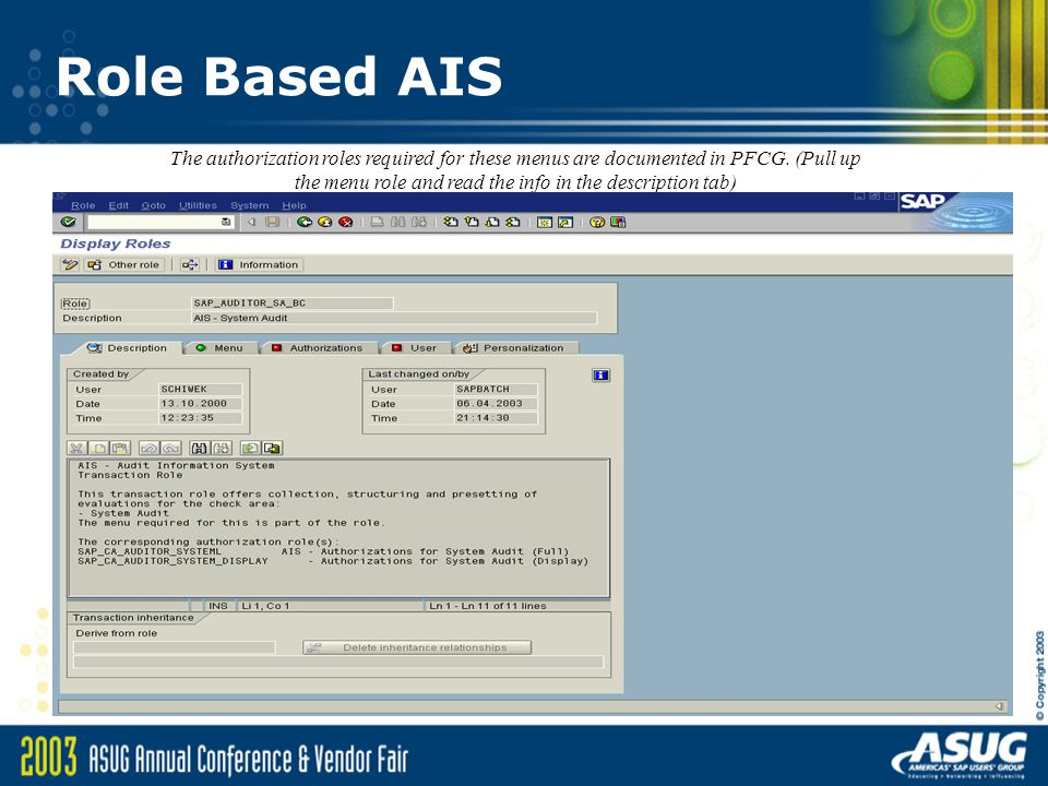 Use of Role Based AIS for Technical System Auditing at DuPont Chris ...