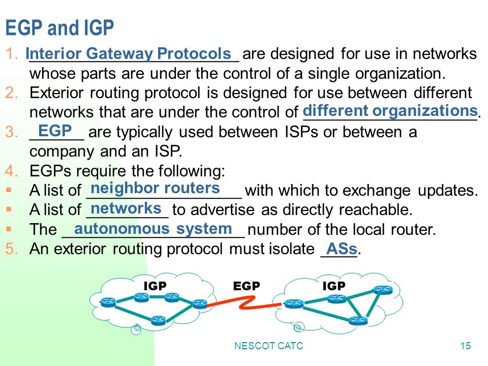 Interior Gateway Protocols different organizations
