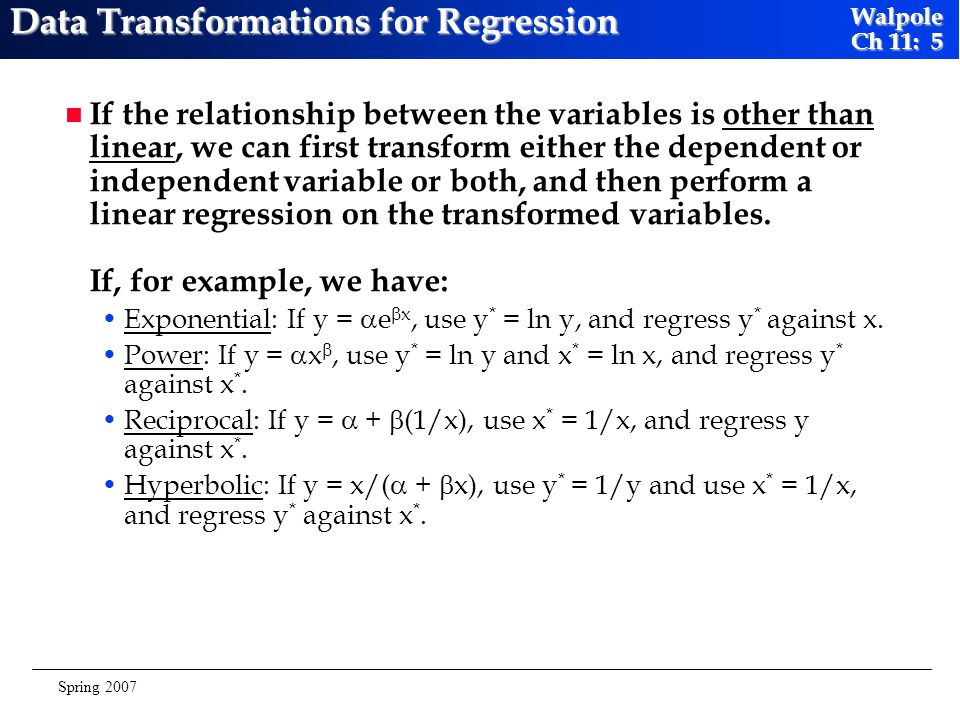 Data Transformations for Regression