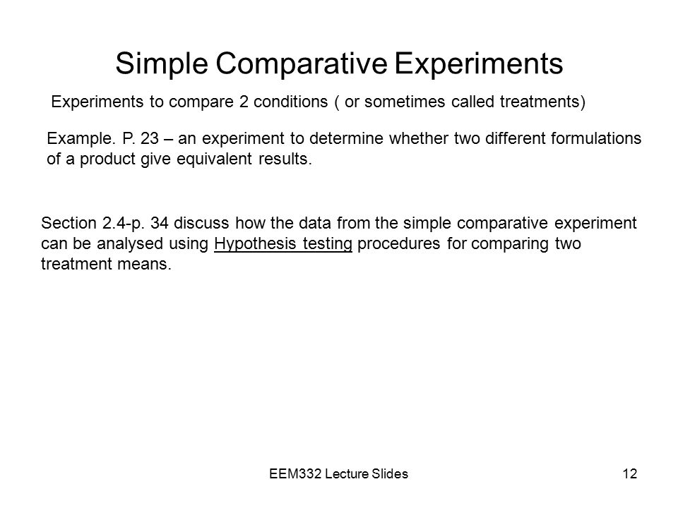 Simple Comparative Experiments
