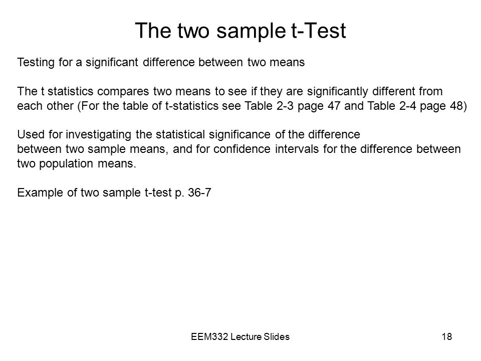 The two sample t-Test Testing for a significant difference between two means.