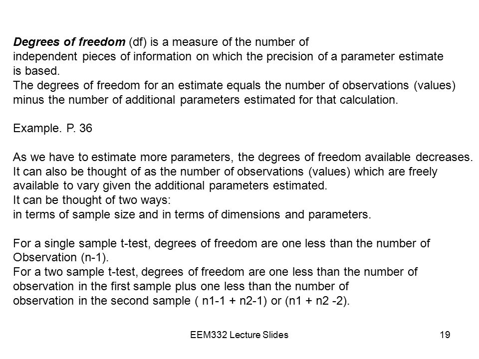 Degrees of freedom (df) is a measure of the number of