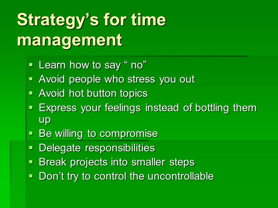 Strategy's for time management