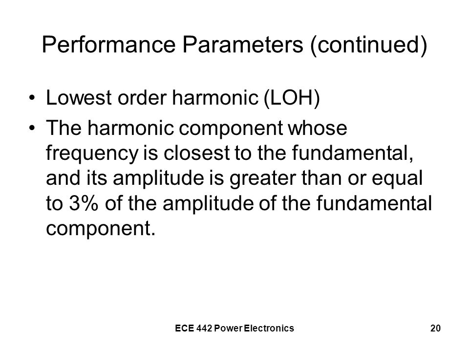 Performance Parameters (continued)