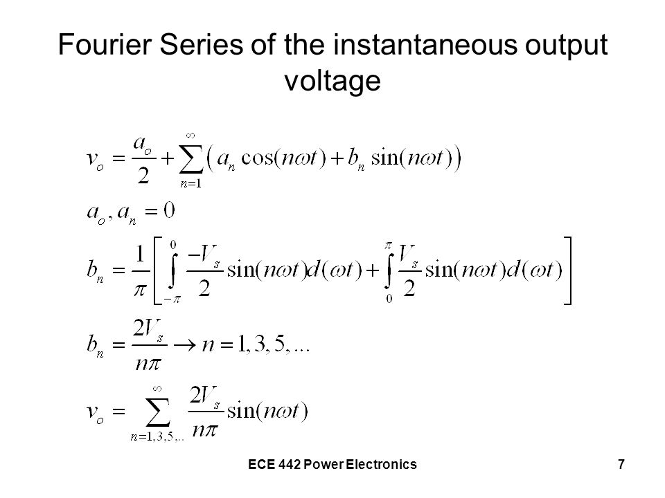 Fourier Series of the instantaneous output voltage