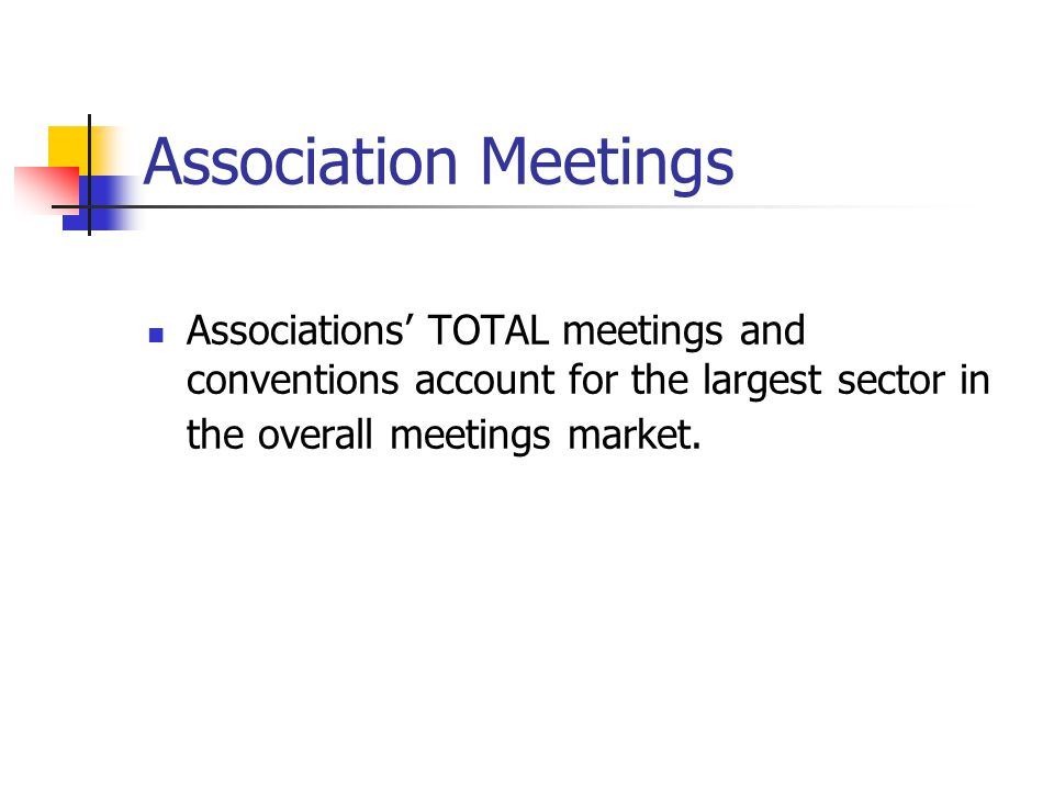 Association Meetings Associations' TOTAL meetings and conventions account for the largest sector in the overall meetings market.