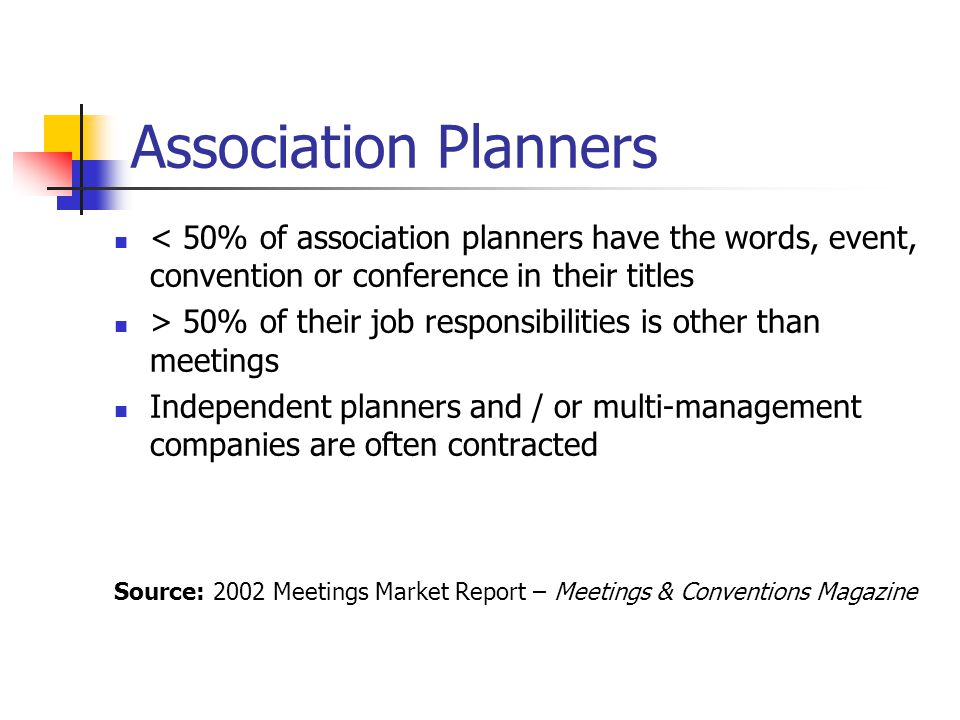 Association Planners < 50% of association planners have the words, event, convention or conference in their titles.