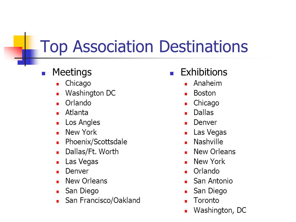 Top Association Destinations