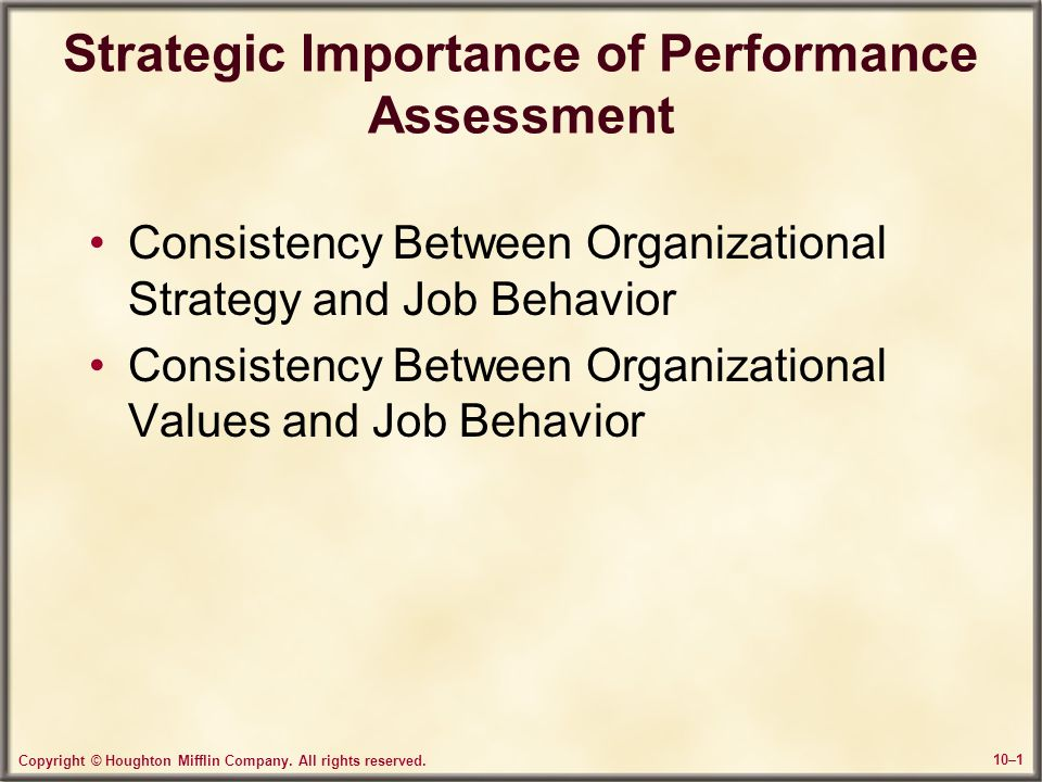 Strategic Importance of Performance Assessment