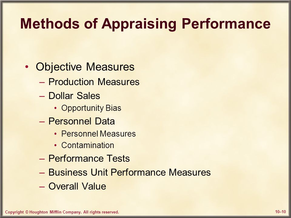Methods of Appraising Performance