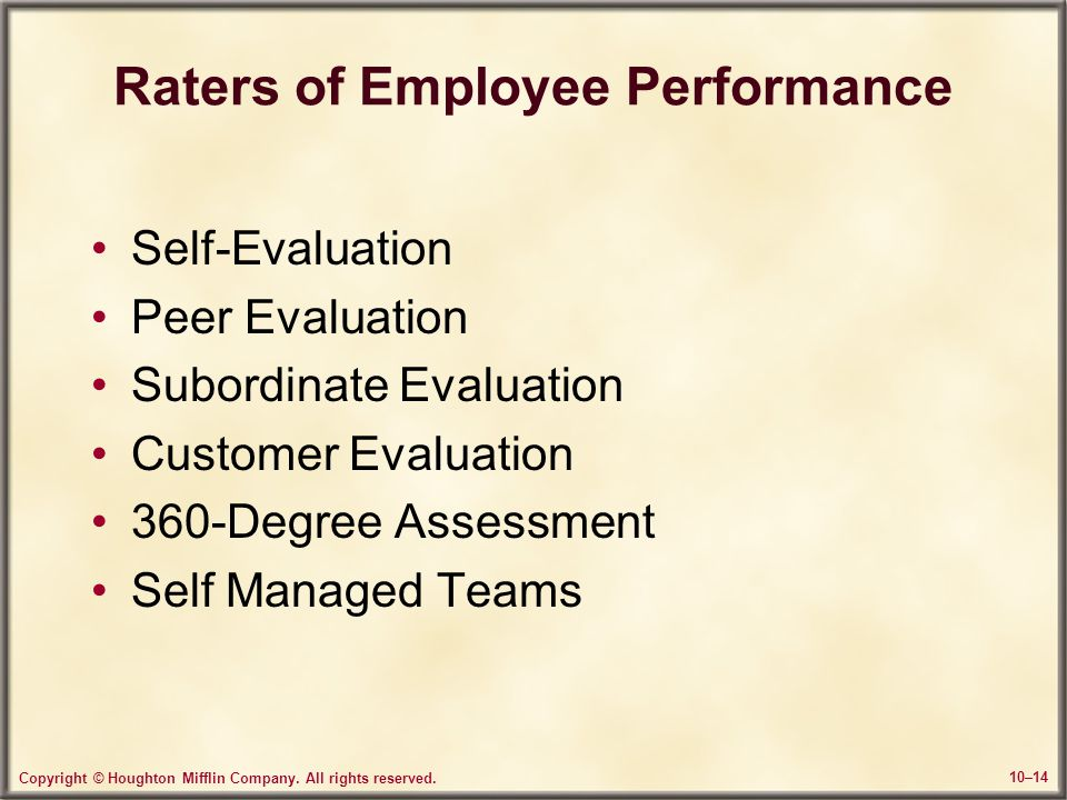 Raters of Employee Performance