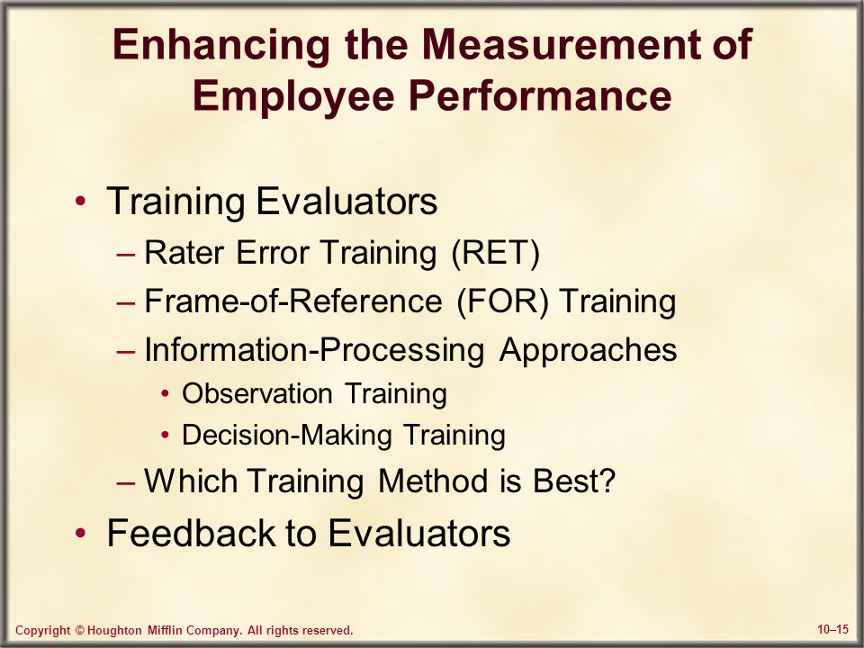 Enhancing the Measurement of Employee Performance