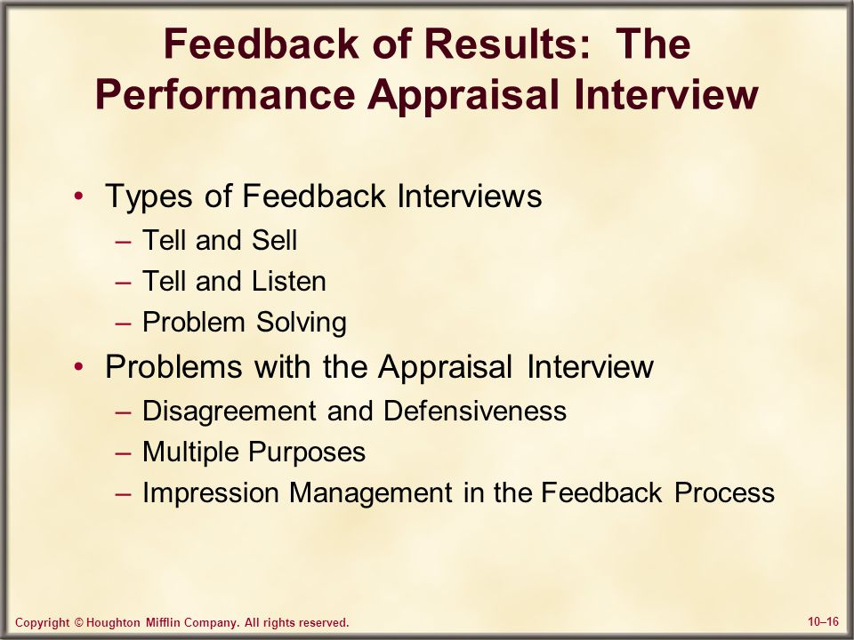 Feedback of Results: The Performance Appraisal Interview