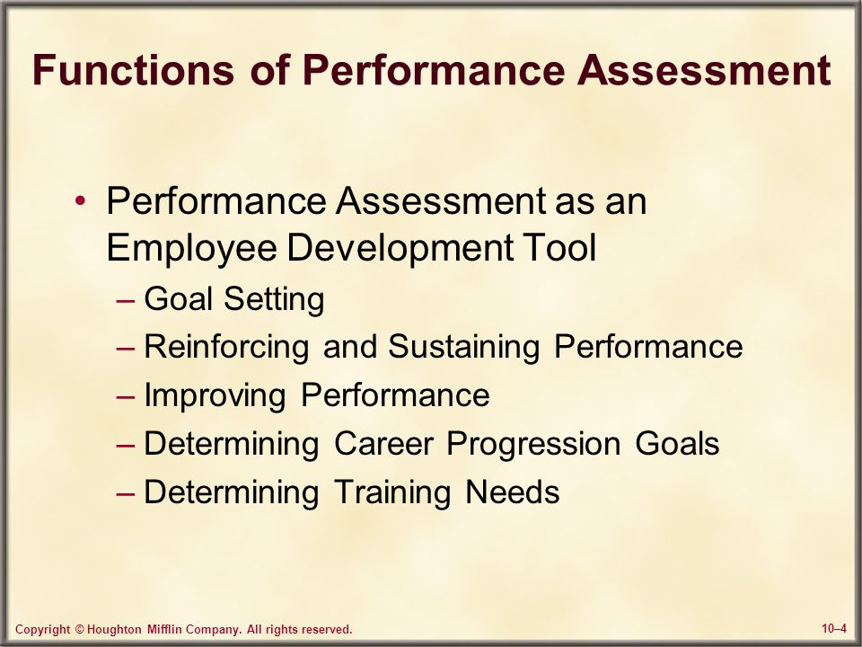 Functions of Performance Assessment