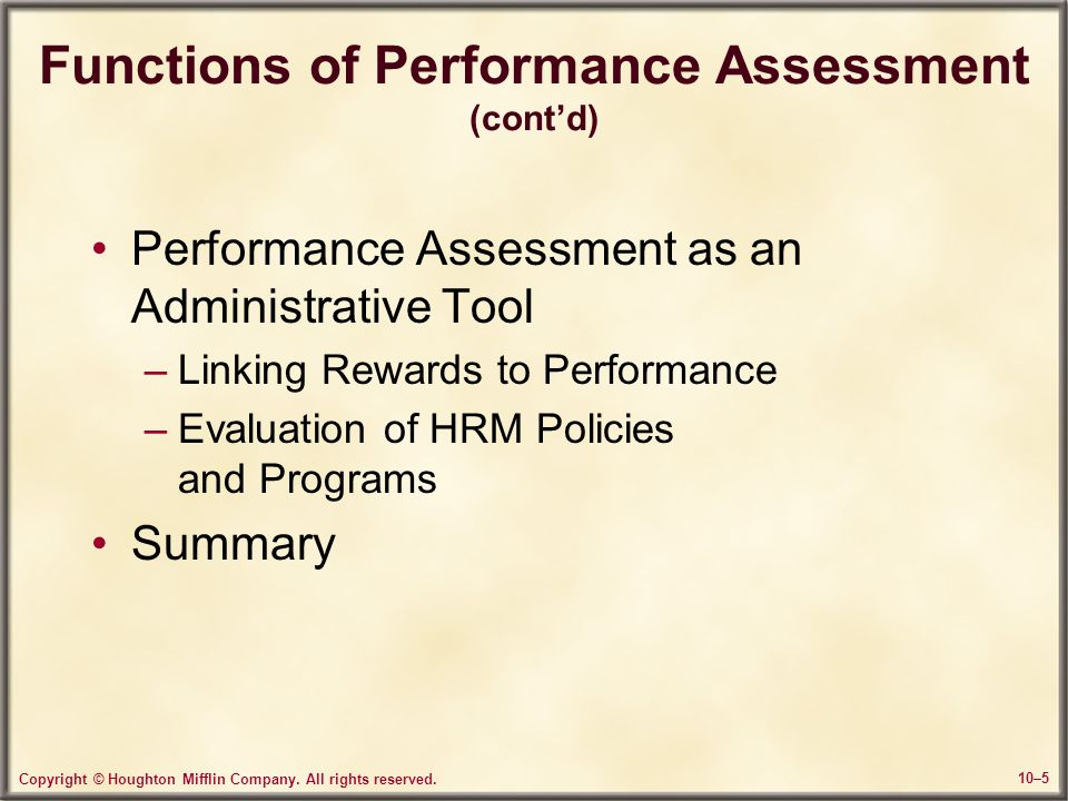 Functions of Performance Assessment (cont'd)