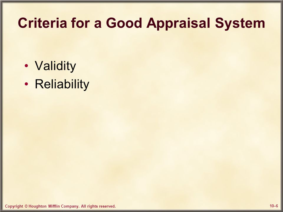 Criteria for a Good Appraisal System