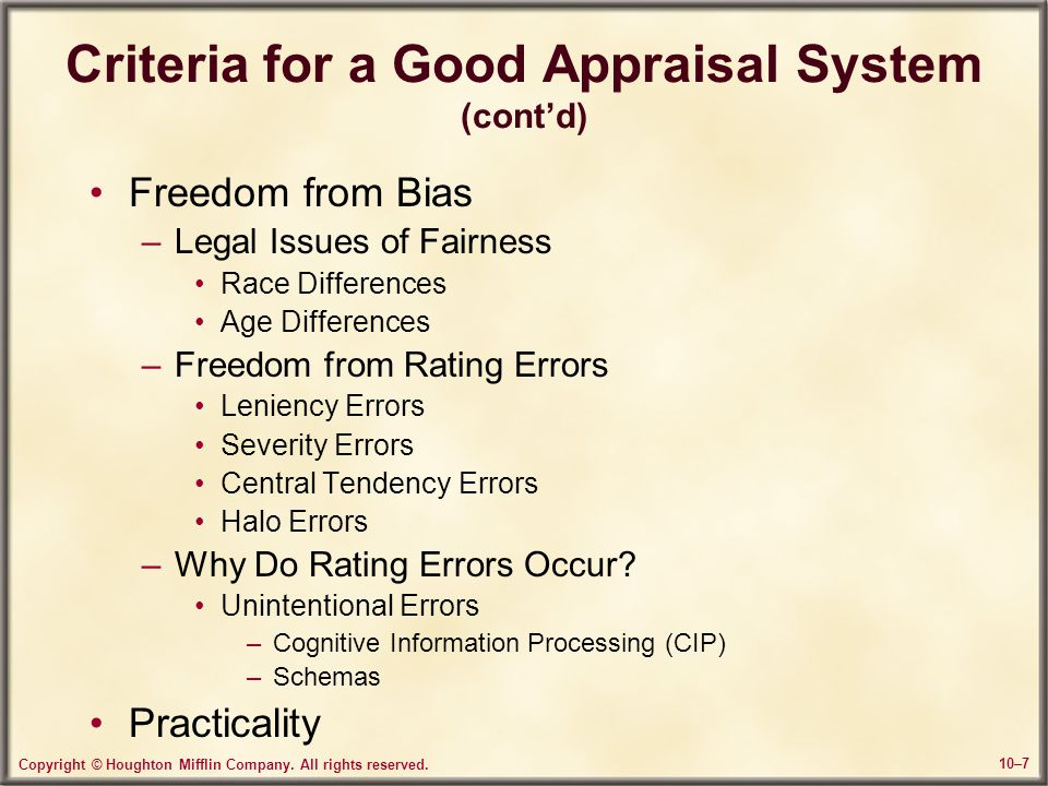 Criteria for a Good Appraisal System (cont'd)