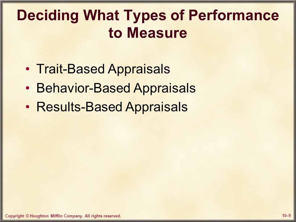 Deciding What Types of Performance to Measure