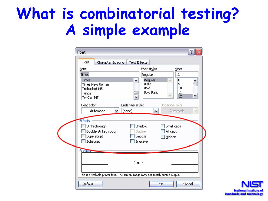 A combinatorial test suite for pairwise testing. | download table.