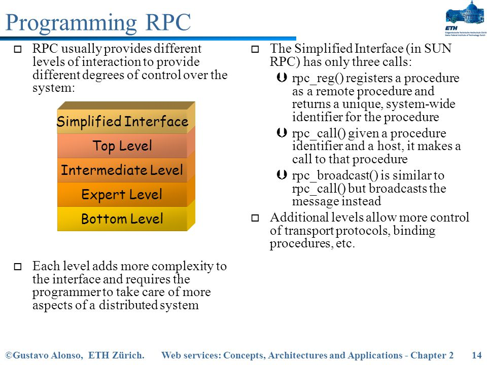 Programming RPC RPC usually provides different levels of interaction to provide different degrees of control over the system: