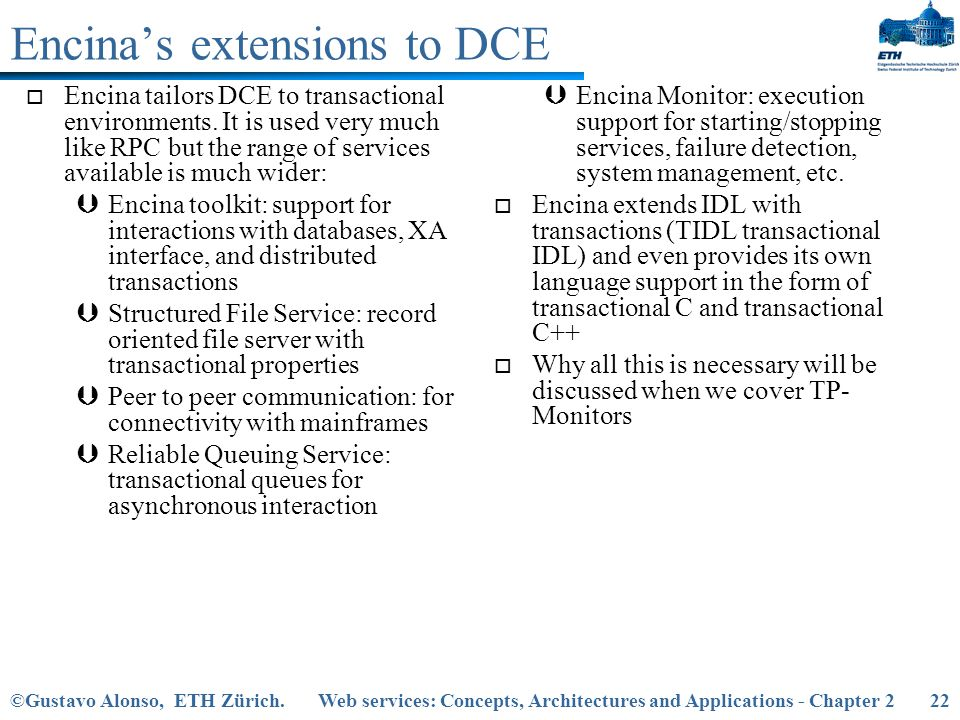 Encina's extensions to DCE