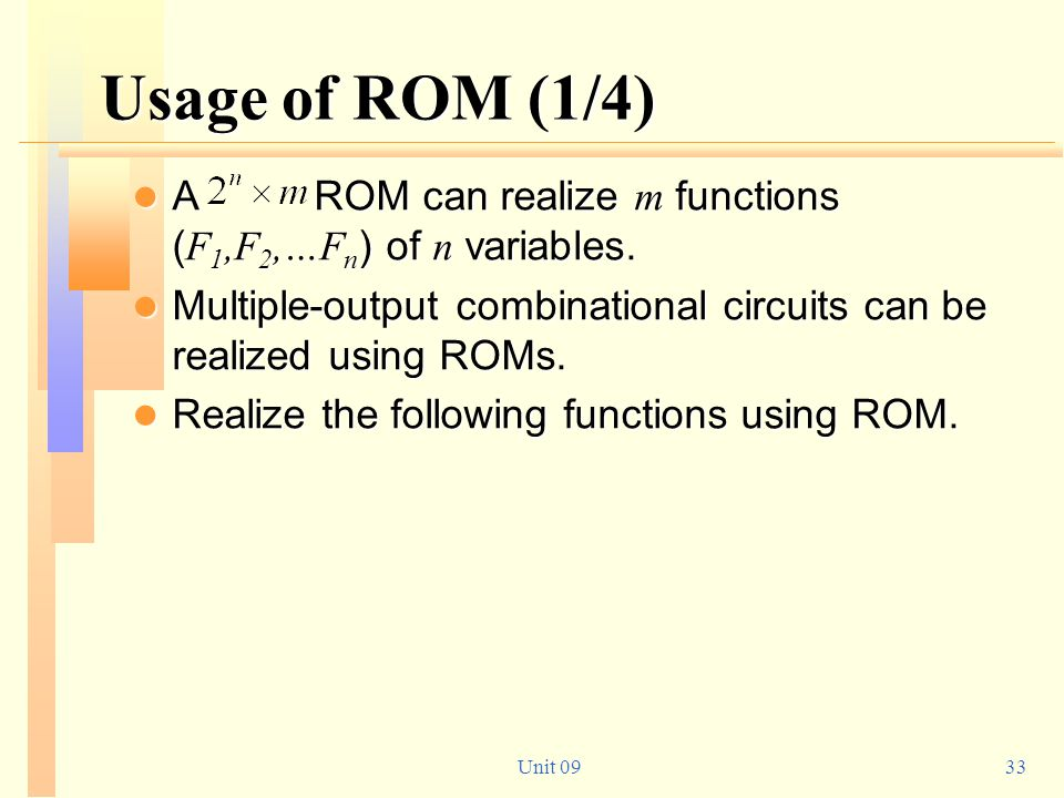 Usage of ROM (1/4) A ROM can realize m functions (F1,F2,…Fn) of n variables.